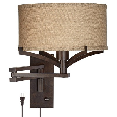 Franklin Iron Works Rustic Farmhouse Swing Arm Wall Lamp Bronze Plug-In Light Fixture Tan Burlap Drum Shade for Bedroom Bedside