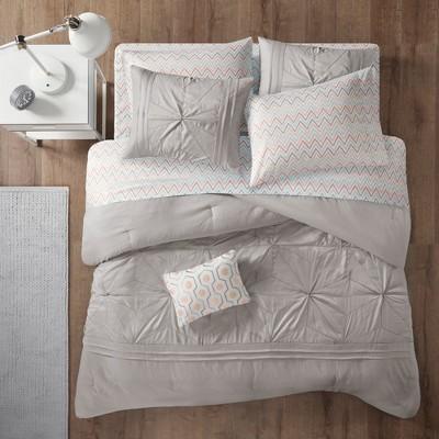 Gray Kara Comforter and Sheet Set (Queen)