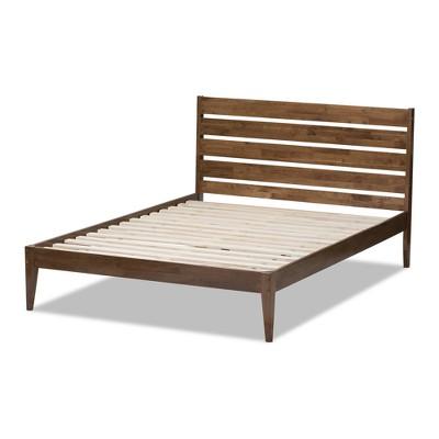 Elmdon Mid - Century Modern Solid Wood Slatted Headboard Style Platform Bed - King - Brown - Baxton Studio