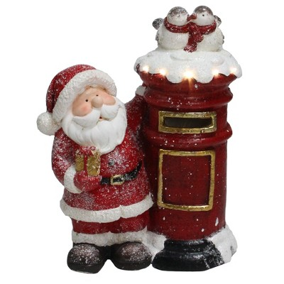 """Northlight 15.5"""" Red and White Lighted Santa Claus Mailing Present Christmas Figurine"""