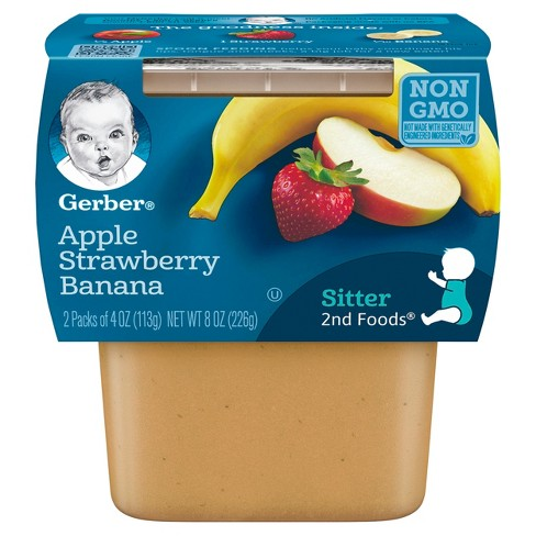 Gerber 2nd Foods Apple Strawberry Banana Baby Food - 4oz (2ct) - image 1 of 5