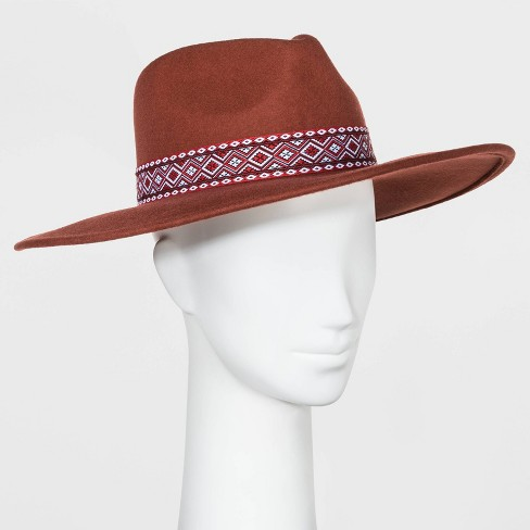 Women's Guitar Strap Band Wide Brim Felt Fedora Hat - Universal Thread™ Rust One Size - image 1 of 2