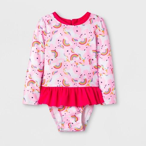 9aa747fcb28 Toddler Girls' Long Sleeve Zip Rash Guard Set - Cat & Jack™ Pink ...