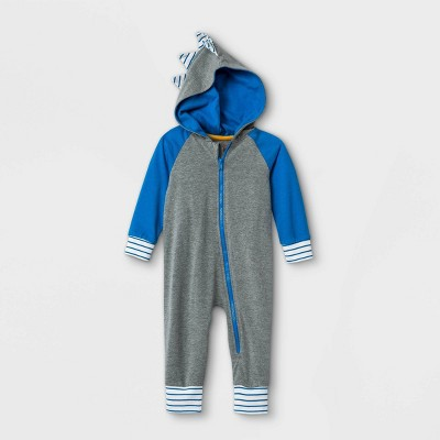 Baby Boys' Elevated Shark Hooded Romper - Cat & Jack™ Gray 3-6M
