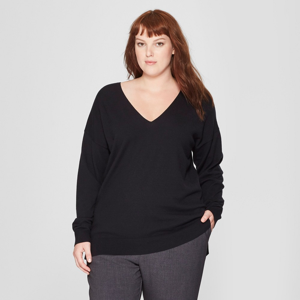 Women's Plus Size Long Sleeve V-Neck Pullover Sweater - Prologue Black 1X