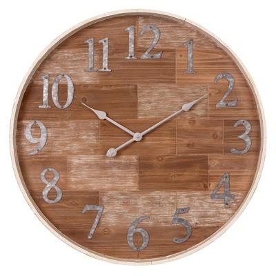 28  Rustic Shiplap Wood Barrel Wall Clock Natural - Patton Wall Decor