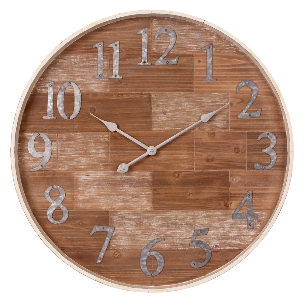 28 Rustic Shiplap Wood Barrel Wall Clock Natural - Patton Wall Decor
