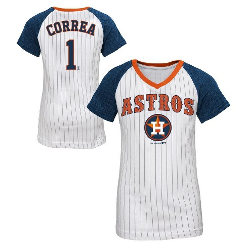Houston Astros Girls' Carlos Correa Pinstripe T-Shirt Jersey - image 1 of 3