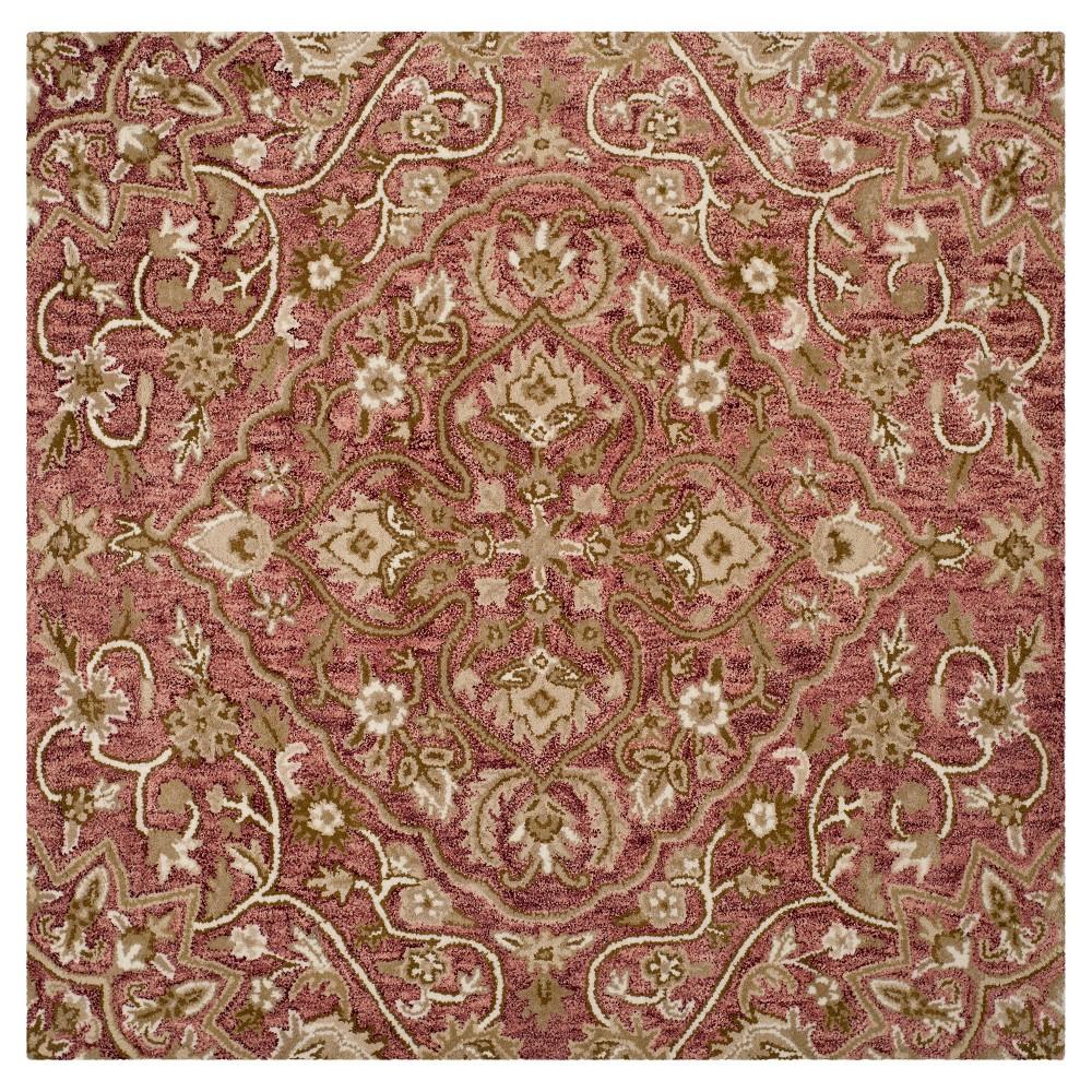 Rose/Taupe (Pink/Brown) Botanical Tufted Square Area Rug - (5'X5') - Safavieh