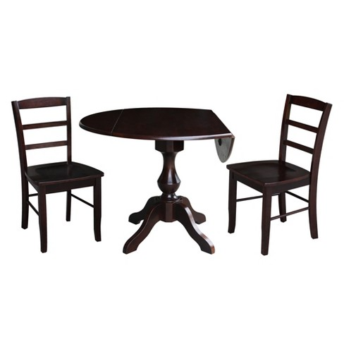 30 3 Randolph Round Top Pedestal Table With 2 Chairs Mocha Brown