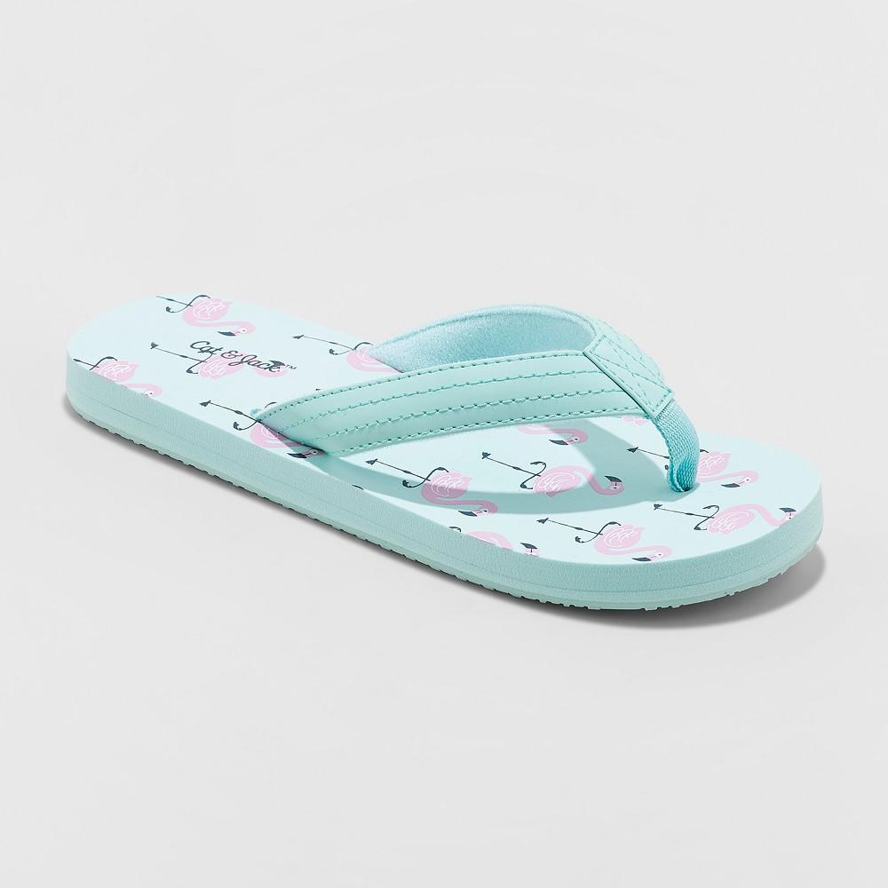 Image of Girls' Aracely Flamingo Flip Flop Sandals - Cat & Jack Mint XL(6), Green