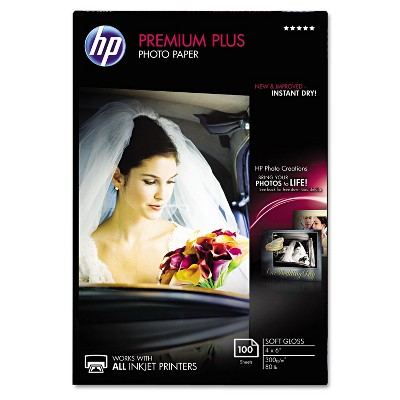 HP Premium Plus Photo Paper 80 lbs. Soft-Gloss 4 x 6 100 Sheets/Pack CR666A