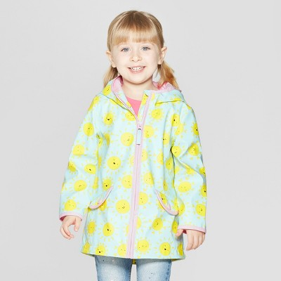 Toddler Girls' Printed Rain Jacket - Cat & Jack™ Light Blue 12M