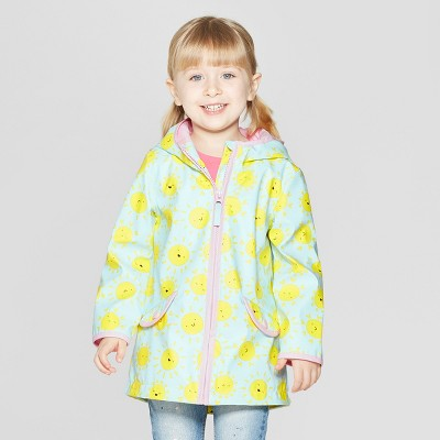 view Toddler Girls' Printed Rain Jacket - Cat & Jack Light Blue on target.com. Opens in a new tab.