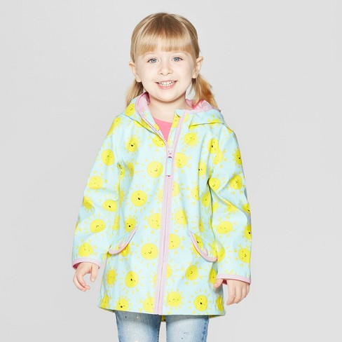 Toddler Girls' Printed Rain Jacket - Cat & Jack™ Light Blue - image 1 of 3