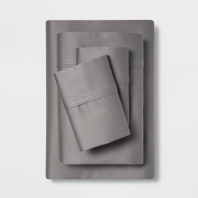 Queen 400 Thread Count Solid Performance Sheet Set Dark Gray - Threshold™