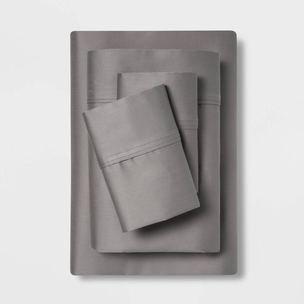 Twin/Twin XL 400 Thread Count Solid Performance Sheet Set Dark Gray - Threshold Buy