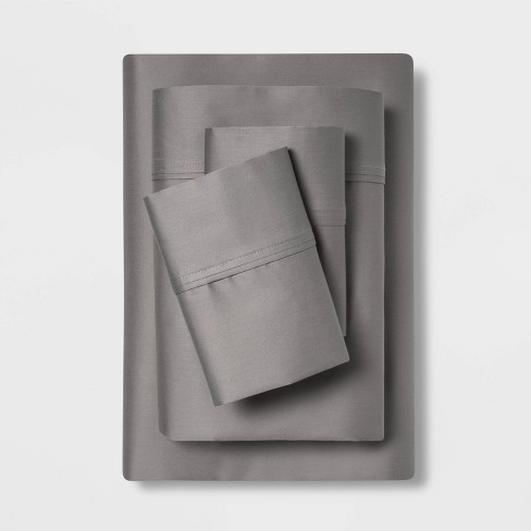 Queen 400 Thread Count Solid Performance Sheet Set Dark Gray - Threshold™ - image 1 of 3
