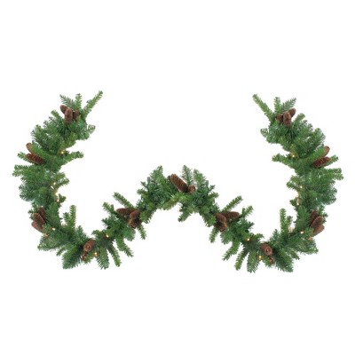 "Northlight 9' x 12"" Prelit Dakota Red Pine Artificial Christmas Garland - Clear Lights"