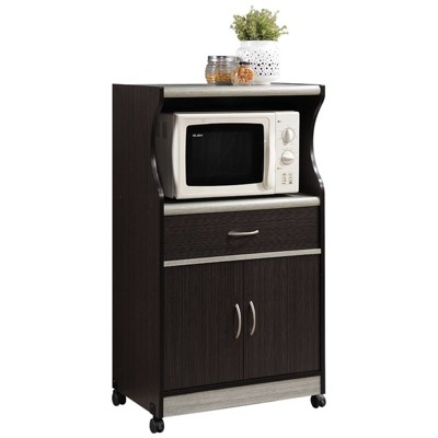 Microwave Kitchen Cart in Chocolate Gray - Hodedah