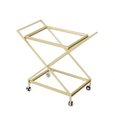 Sherianne Industrial Iron Bar Cart Gold - Christopher Knight Home