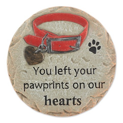 """Cement """"You Left Your Pawprints on Out Hearts"""" Pet Memorial Stepping Stone - Zingz & Thingz"""