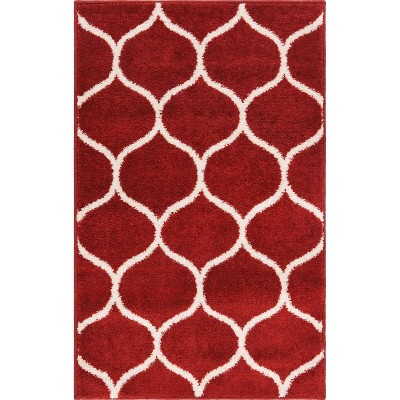 Rounded Trellis Frieze Rug Red/White - Unique Loom
