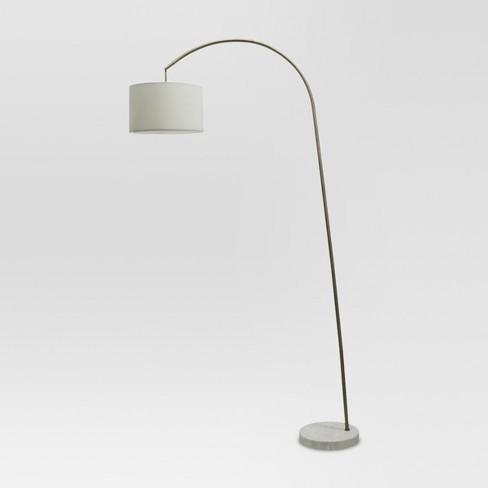 Shaded Arc With Marble Base Floor Lamp, Arc Floor Lamp With Marble Base