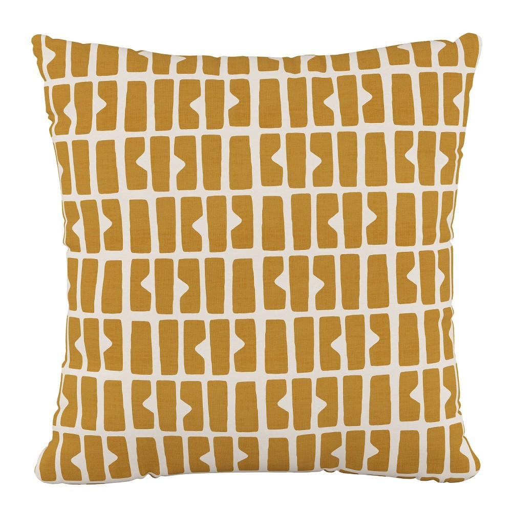 """Image of """"18""""""""x18"""""""" Polyester Pillow in Block Panel Mustard - Cloth & Company"""""""