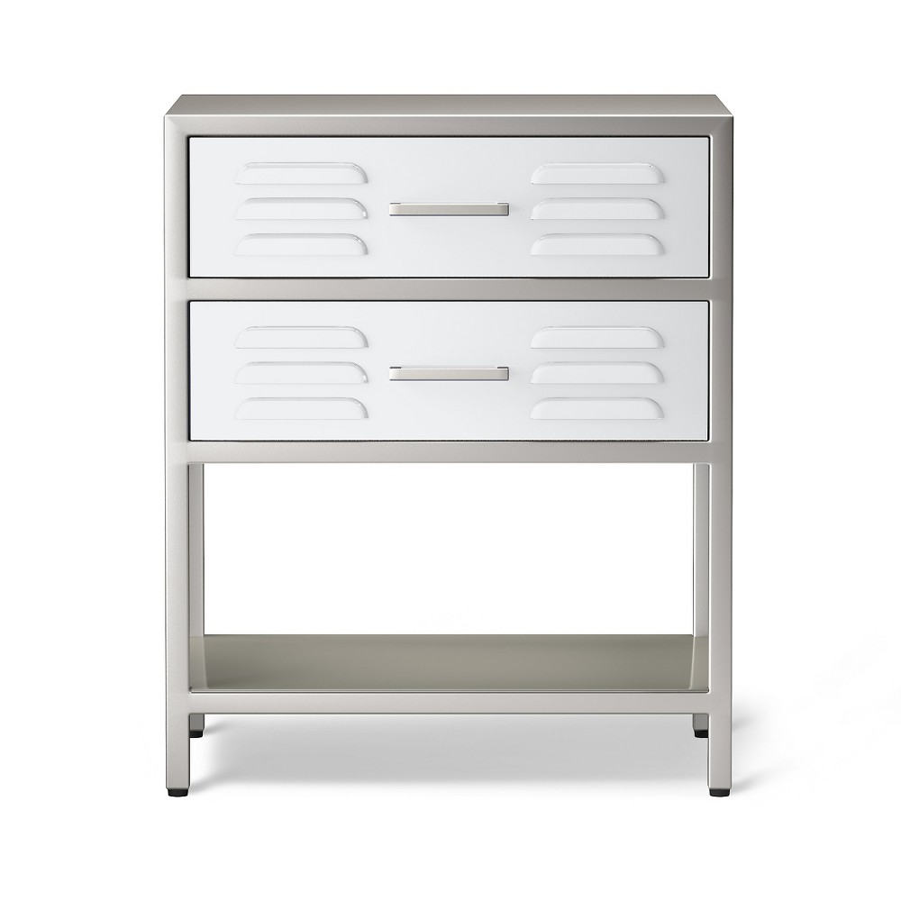 Image of 2-drawer Locker Kids Nightstand -Campanula White - Pillowfort , Adult Unisex