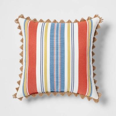 Canton Stripe Outdoor Throw Pillow Orange - Threshold™