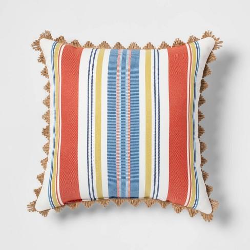 Canton Stripe Outdoor Throw Pillow Orange - Threshold™ - image 1 of 4