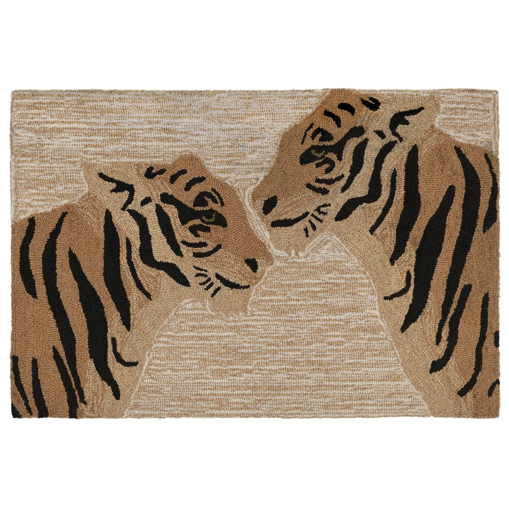 Image of 2'6X4' Tiger Accent Rug Natural - Liora Manne, White