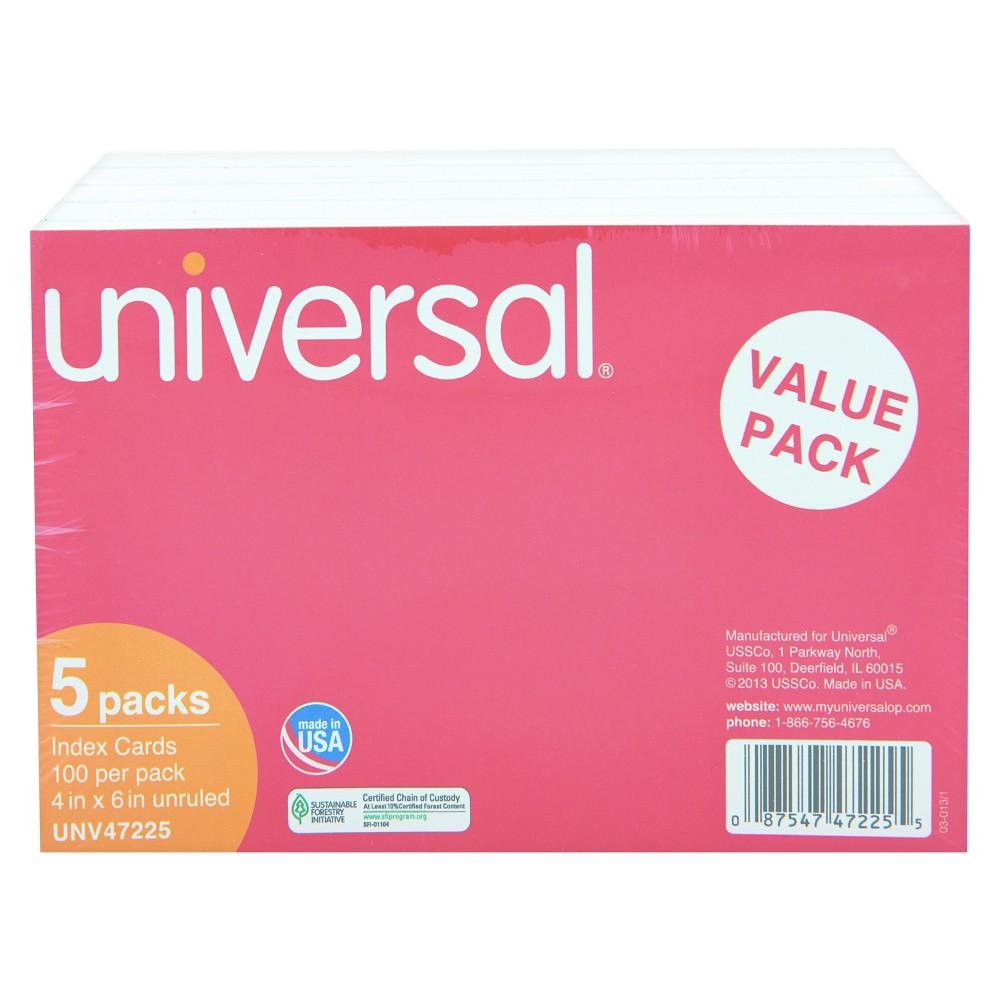 Universal Unruled Index Cards, 4 x 6, White, 500pk