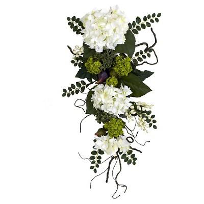 "Nearly Natural Hydrangea Teardrop White (28"")"