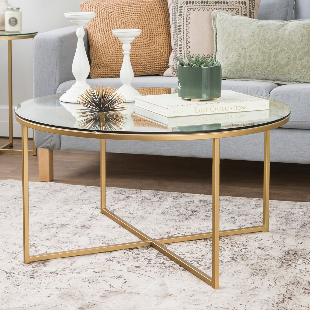 36 Coffee Table with X - Base - Glass/Gold - Saracina Home