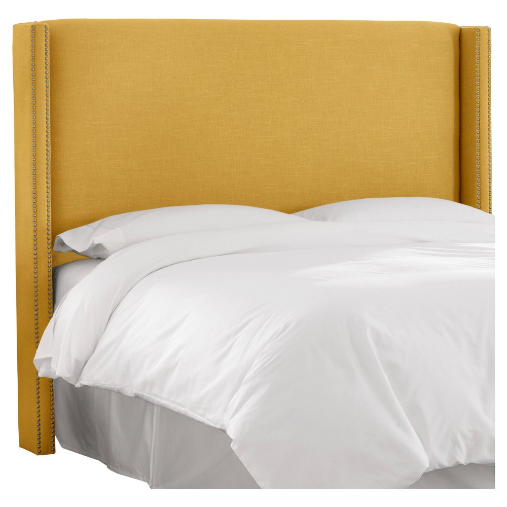 Coupons California King Nail Button Wingback Headboard Linen French Yellow with Pewter Nail Buttons - Skyline Furniture