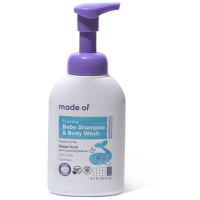 MADE OF Organic Baby Shampoo and Body Wash Fragrance Free - 10oz