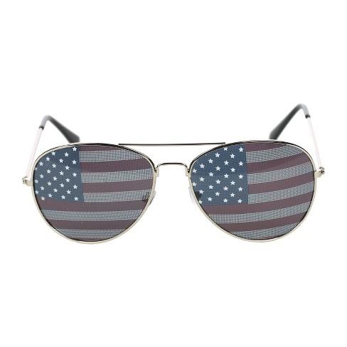 Metal Sunglasses Aviator Red White Blue - Sun Squad™ - image 1 of 3
