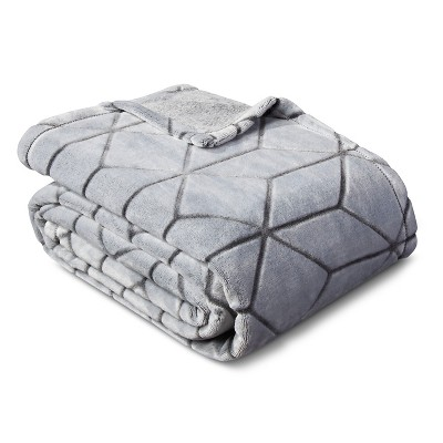 Micromink Plush Blanket (Full/Queen)Flat Gray - Room Essentials™