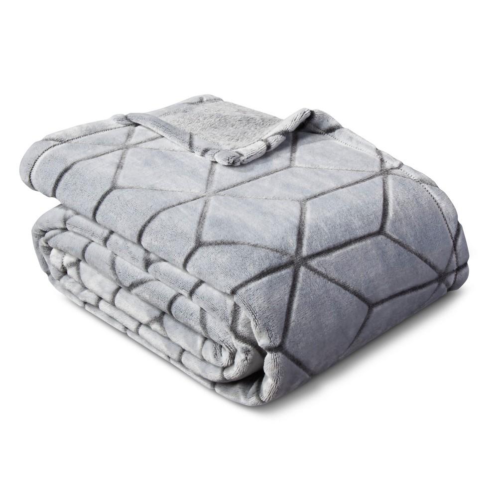 Micromink Plush Blanket Twin) Flat Gray - Room Essentials