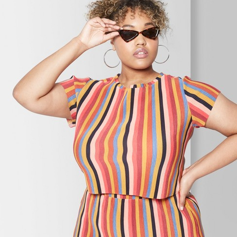 35c17e78f8d Women s Striped Cropped Plus Size Short Sleeve Pleated Knit Top - Wild Fable™  Yellow