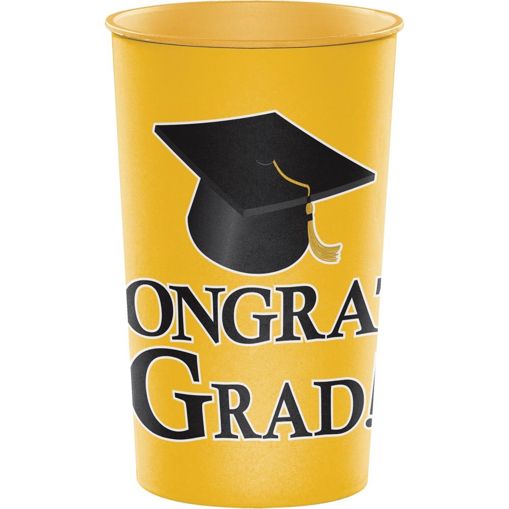Graduation Yellow 22 Oz Plastic Cup