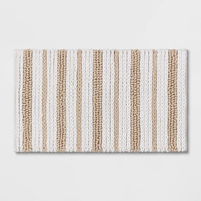 "20""x32"" Chunky Chenille Striped Bath Rug Beige - Threshold™"