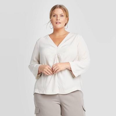 Women's Plus Size Long Sleeve Blouse - Prologue™ Off White