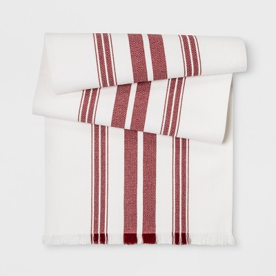 90 x20  Farmhouse Stripe Table Runner Cream/Red - Threshold™