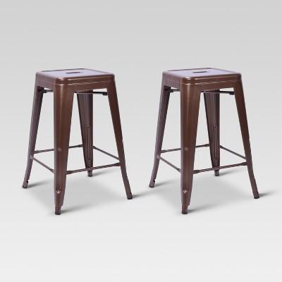 Admirable Carlisle Metal 24 Counter Stool Brown Set Of 2 Creativecarmelina Interior Chair Design Creativecarmelinacom