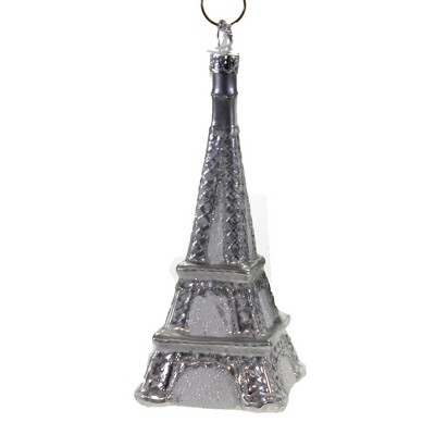 "Holiday Ornament 4.0"" Silver Eiffel Tower . France Paris Love Souvenir  -  Tree Ornaments"