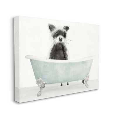 Stupell Industries Raccoon In A Tub Funny Animal Bathroom Drawing