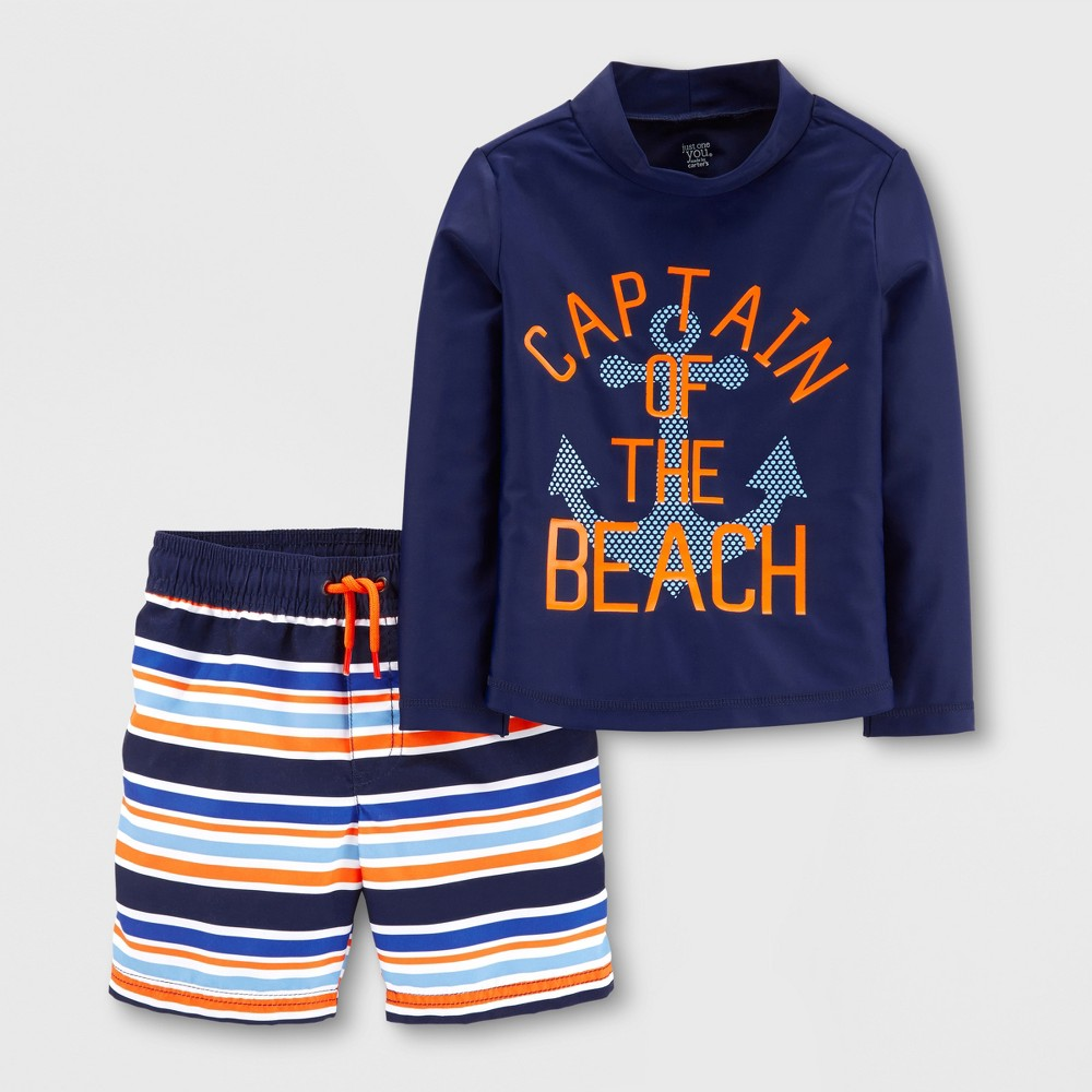 Toddler Boys' 2pc Captain Rash Guard Set - Just One You made by carter's Navy 3T, Blue
